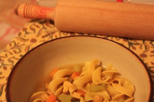 chicken noodle soup on a rainy night Haiku