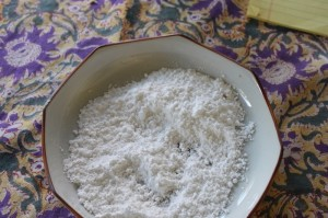 a bowl of powdered sugar