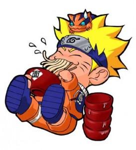 Naruto chibi slurps his ramen