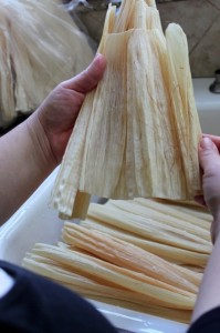 soaking tamale husks