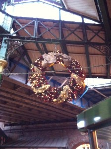 hanging wreath at Borough market