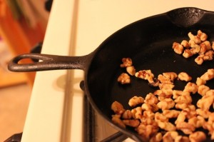 toasting walnuts in an iron skillet