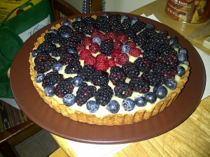 lemon, blackberry, blueberry tart