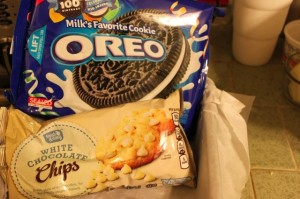 Oreos and white chocolate chips