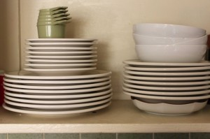 diner plates, stacked