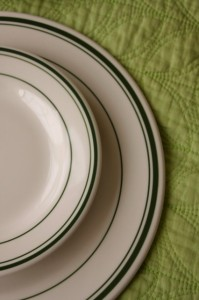 plates with green stripe