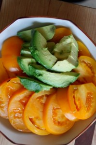 yellow tomatoes and avocadoes